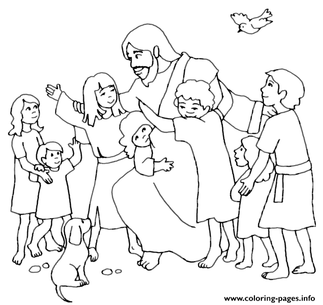 640x604 Jesus With Children Coloring Pages Collection