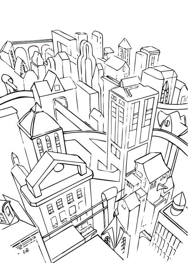 coloring page of a city 5