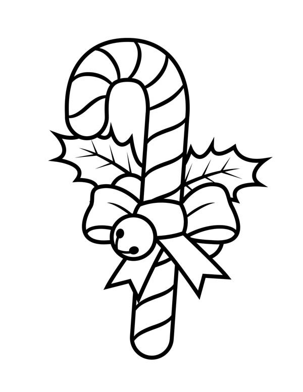 600x777 Candy Cane With Ribbon And Little Bell Coloring Page
