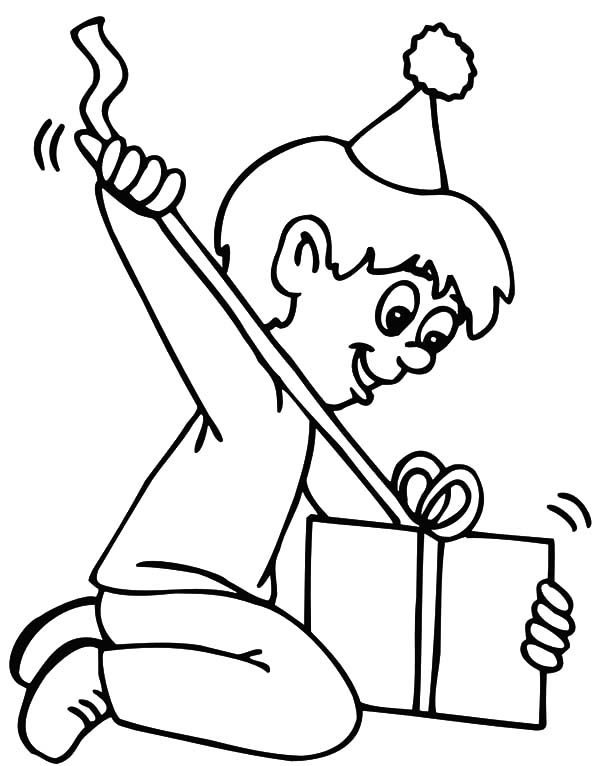 600x766 Birthday Boy Pulling His Birthday Wrapped Ribbon Coloring Pages