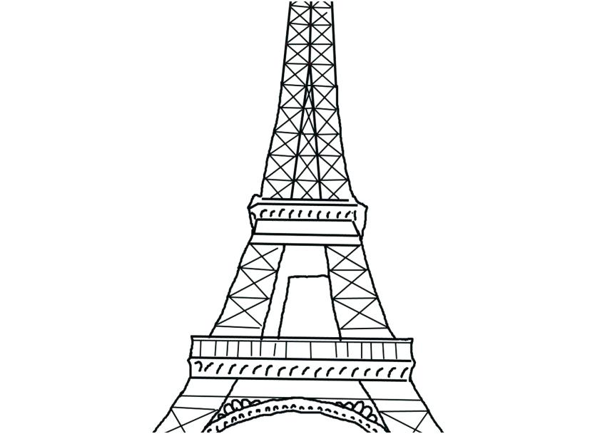 827x609 Eiffel Tower Coloring Page Tower Coloring Pages Photo Awesome