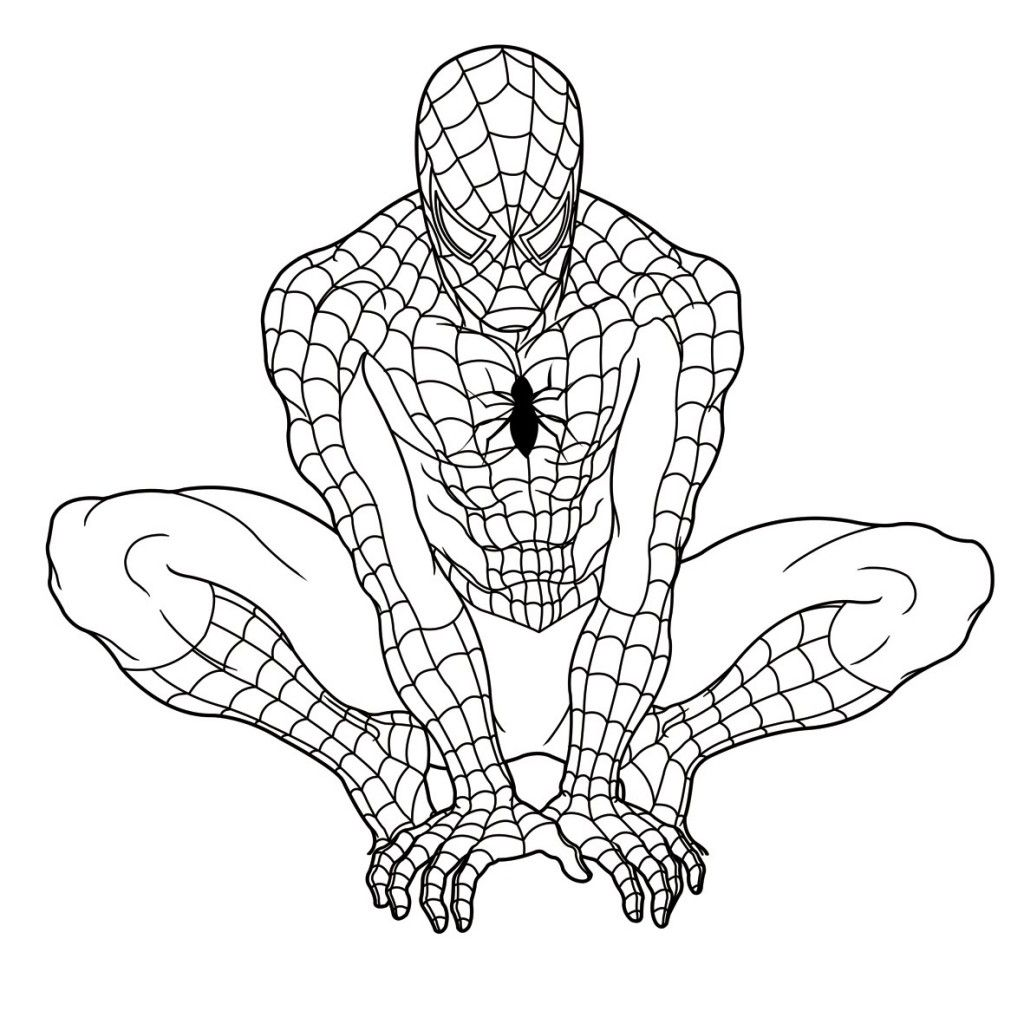 1024x1024 Sizable Spiderman Picture To Color Coloring Page Template