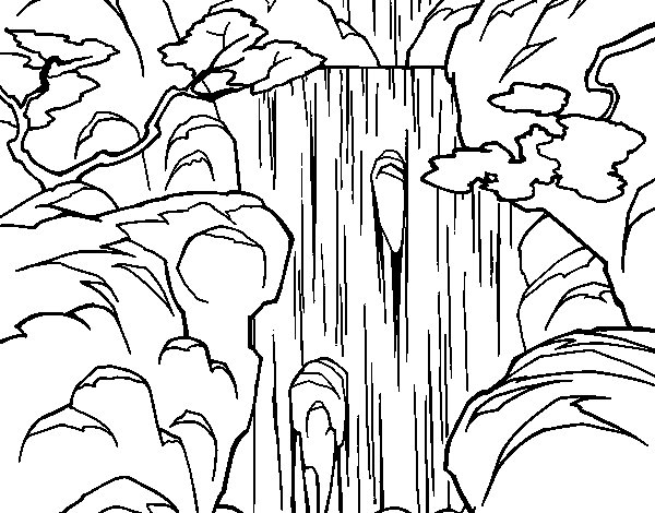 Coloring Page Waterfall