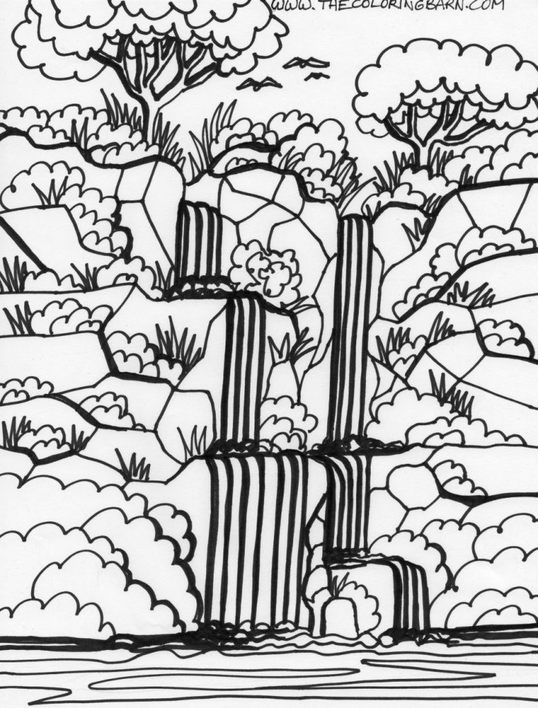 778x1024 Free Printable Waterfall Coloring Pages