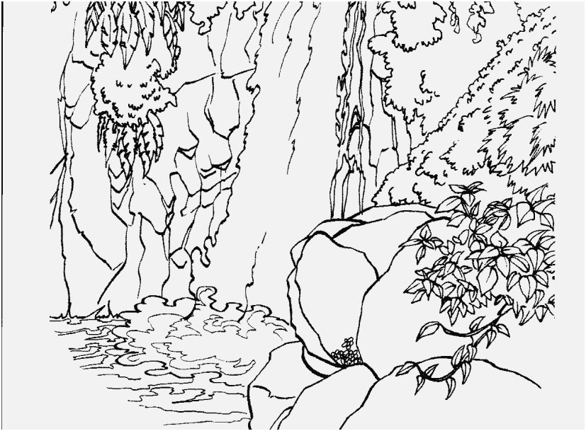 827x609 Nature Coloring Pages For Adults Pic Waterfall Nature Printable