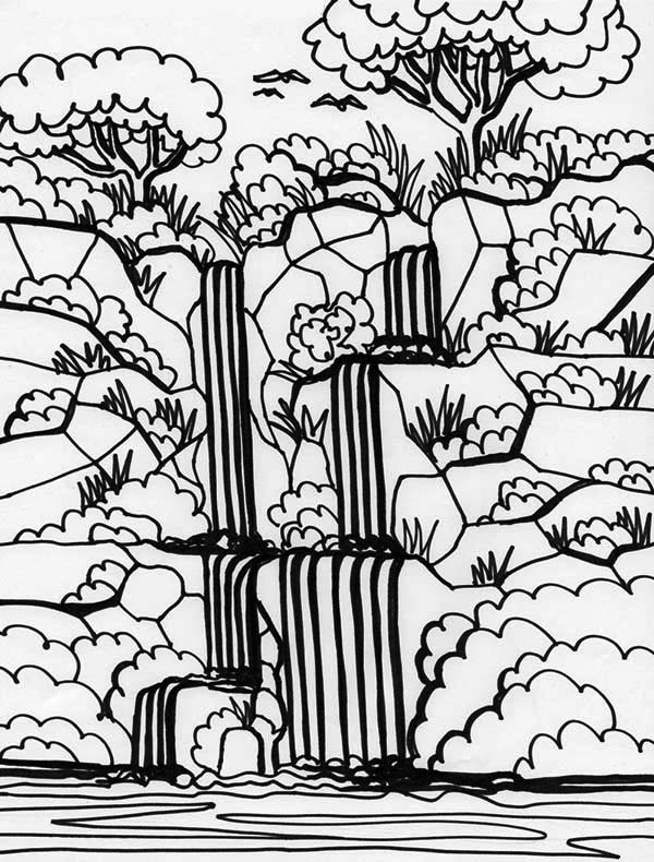 600x790 Rainforest And Waterfalls Coloring Page