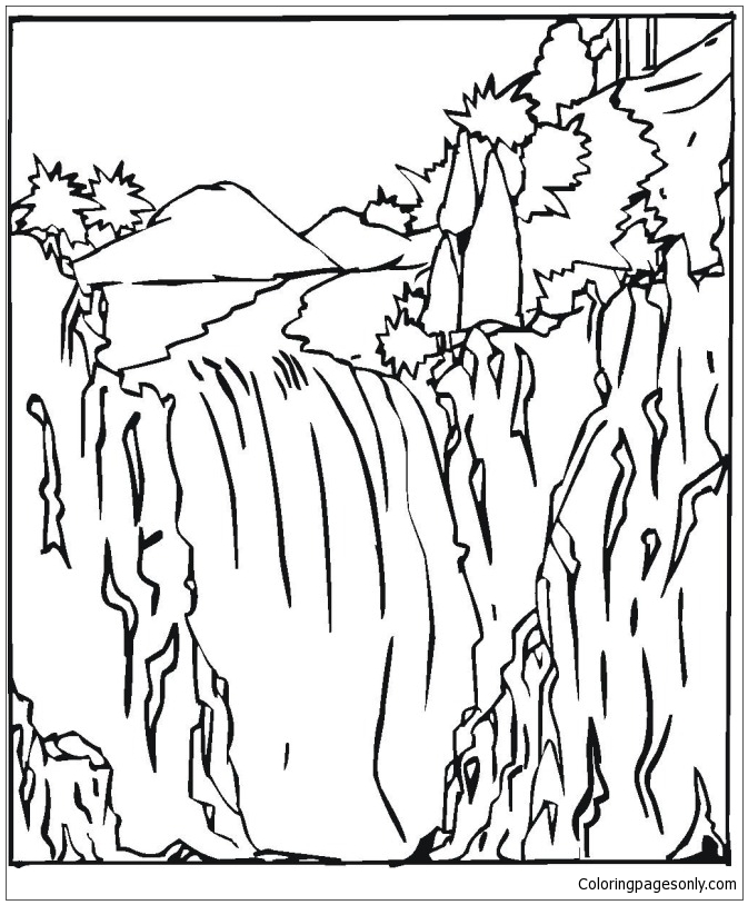 673x814 Waterfall Coloring Page