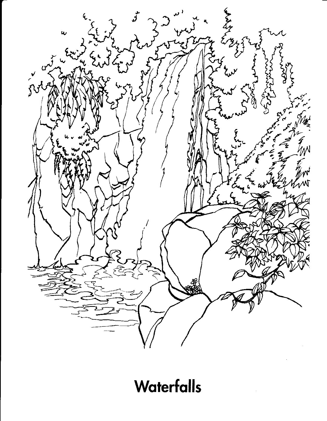 1252x1612 Waterfall Nature Printable Coloring Pages With Coloring Page
