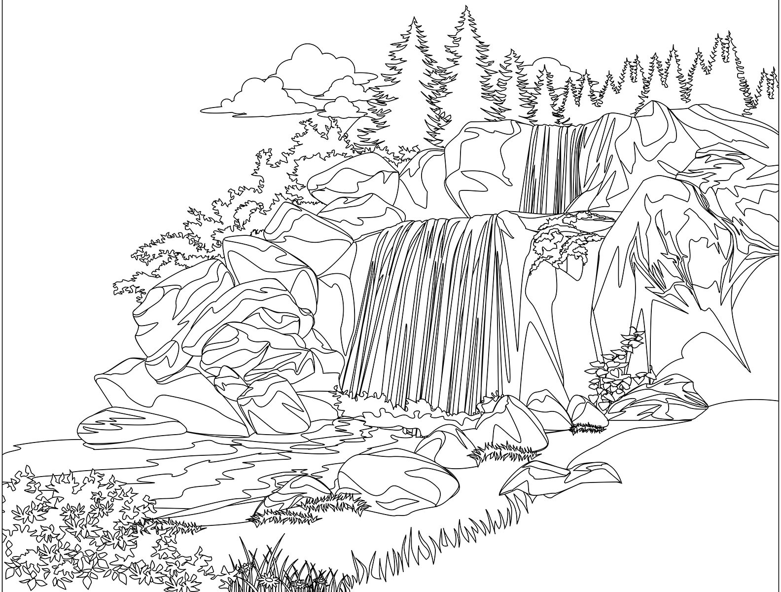 1584x1200 Waterfall Cliparting Page Pencil And In Beautiful Coloring Pages