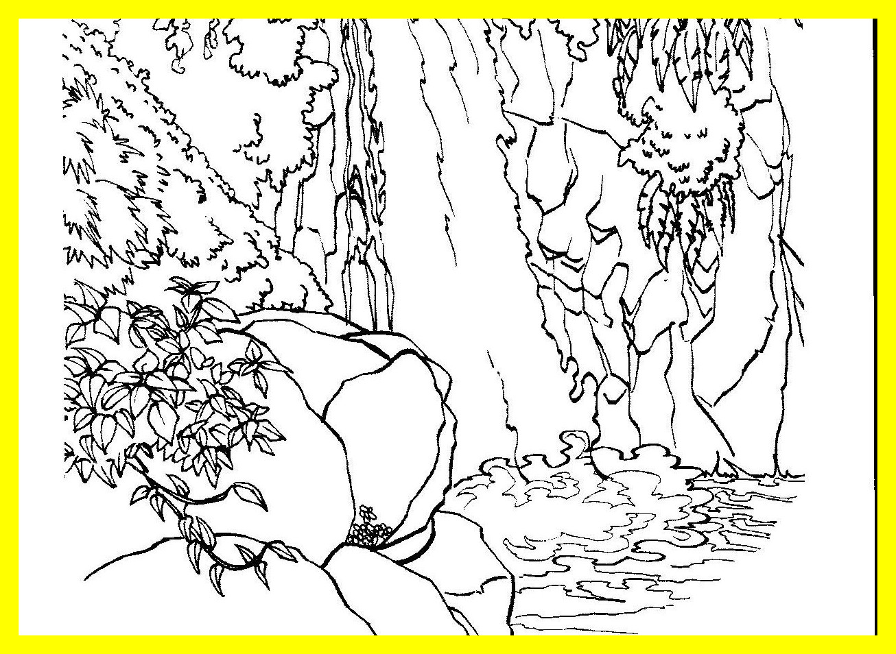 1306x954 Appealing River Scene Coloring Page Waterfall Wood In Nature