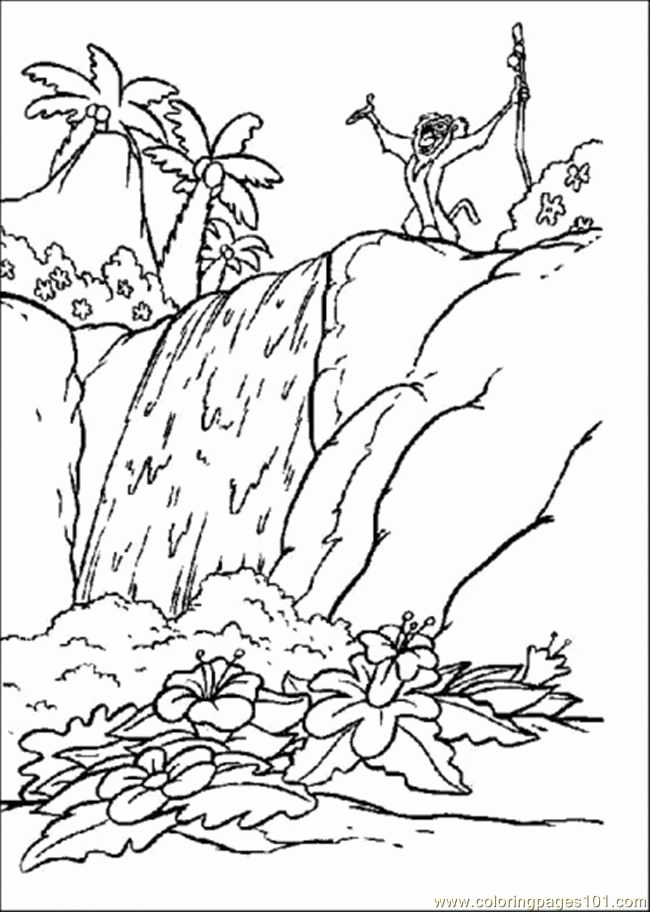 650x912 Waterfall Coloring Page Stock Rainforest Printable Coloring Pages