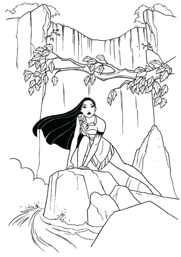 600x848 Coloring Pages At Waterfall Pocahontas Pdf Murs
