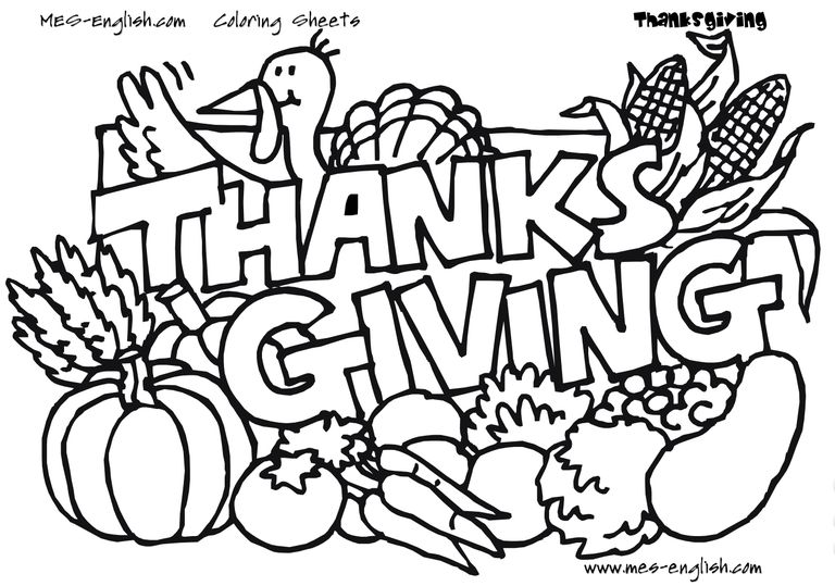 768x539 Thanks Giving Coloring Sheets Excellent Thanksgiving Coloring Page