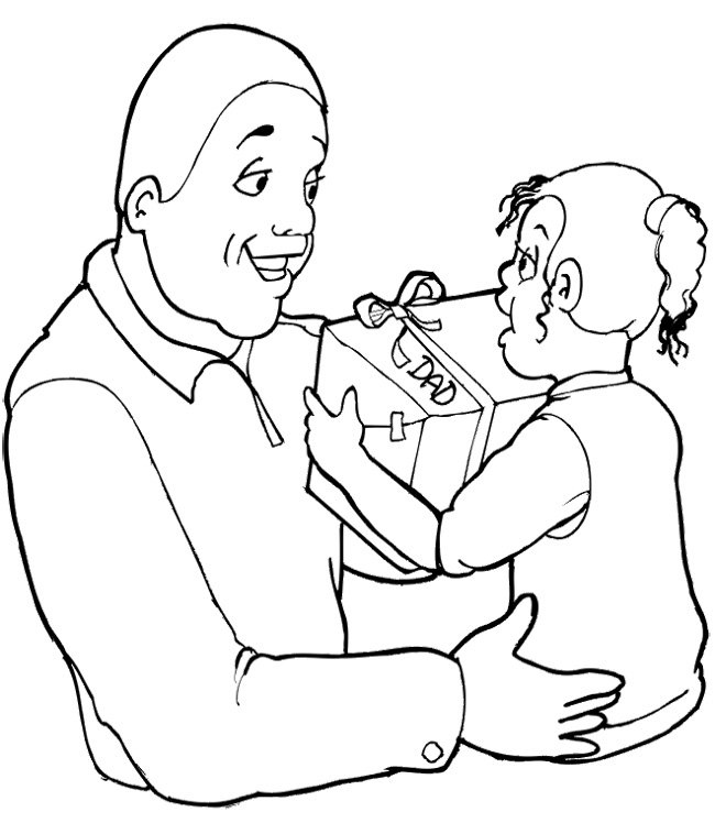 650x758 The Child Giving Gift To Father's Day Coloring Page Kids