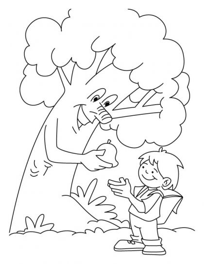 420x543 Tree Giving The Fruit To A Boy Coloring Pages Download Free Tree