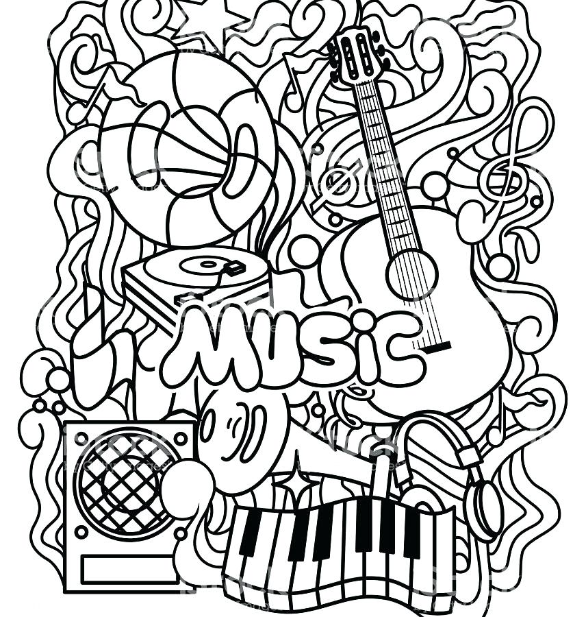 856x900 Music Coloring Pages Printable Cat Listening To Music Coloring