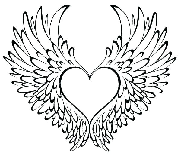 600x519 Angel Wings Coloring Pages Free Printable Cross With Wings