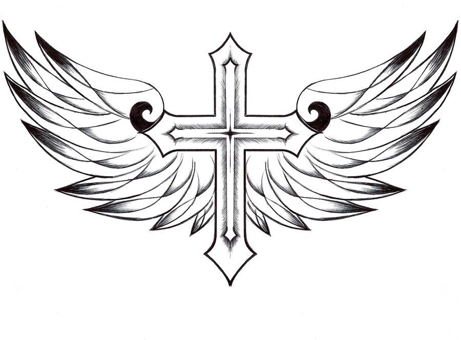 900x664 Cross With Wings Clipart