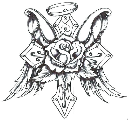 531x497 Heart With Angel Wings Coloring Pages Ink Metal Heart With Angel