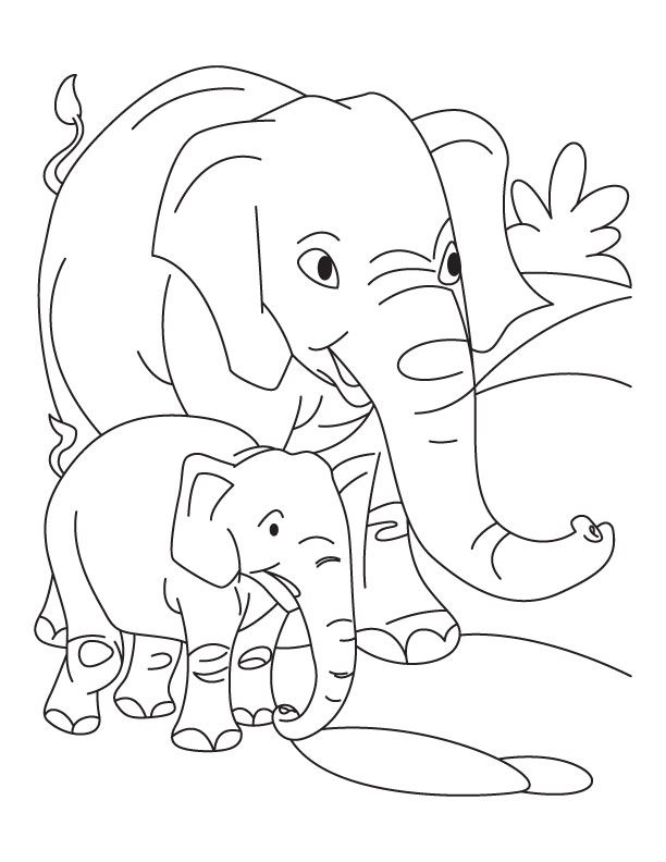 612x792 Elephant With Baby Elephant Coloring Pages Download Free