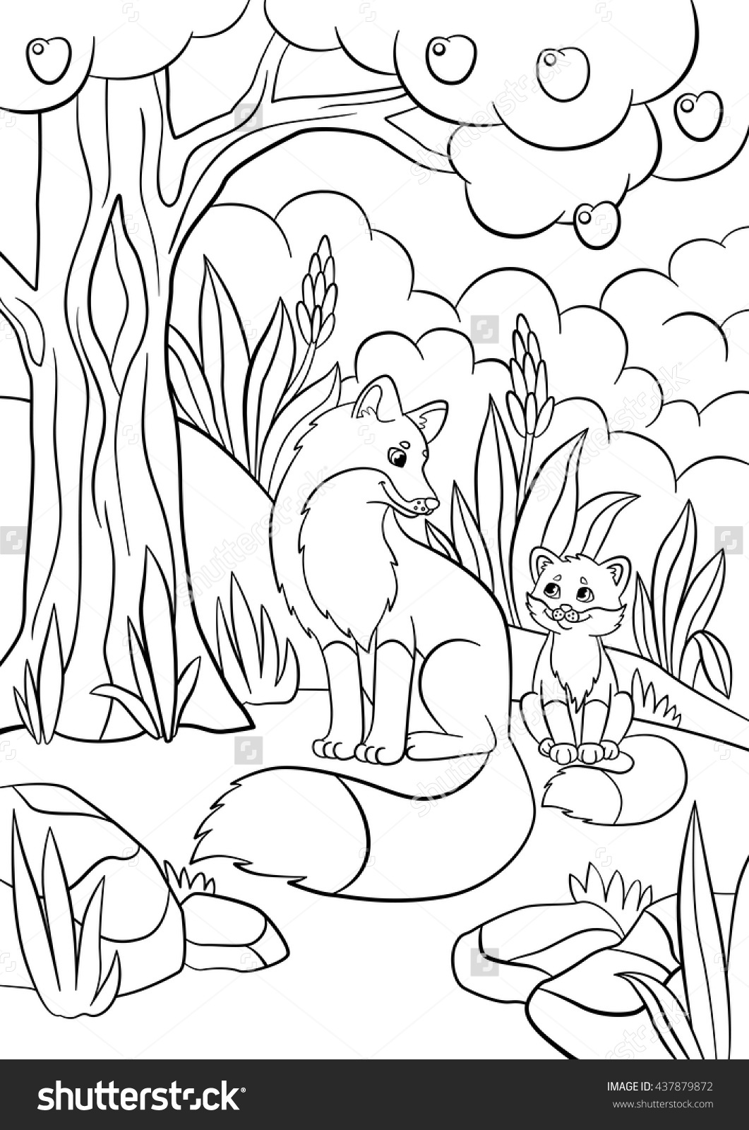 1061x1600 Baby Fox Coloring Pages