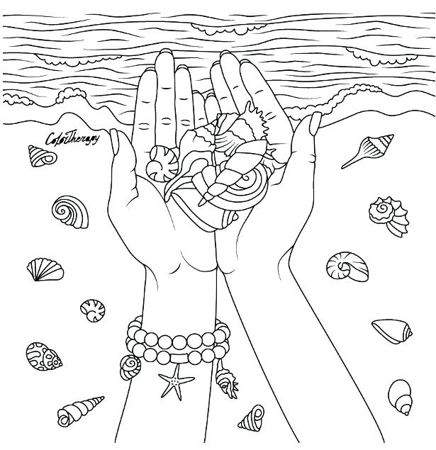 615x635 Coloring Pages App Hands With Seashells Coloring Page Color