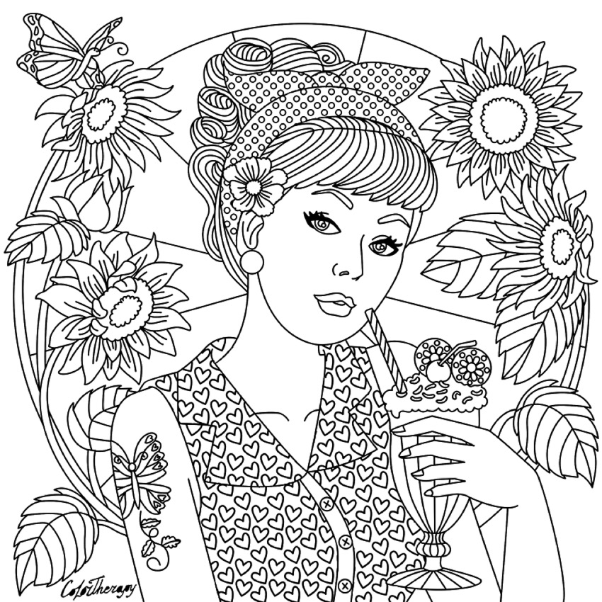 850x850 Girl On Color Therapy App Coloring Pages For Adults Coloring Book
