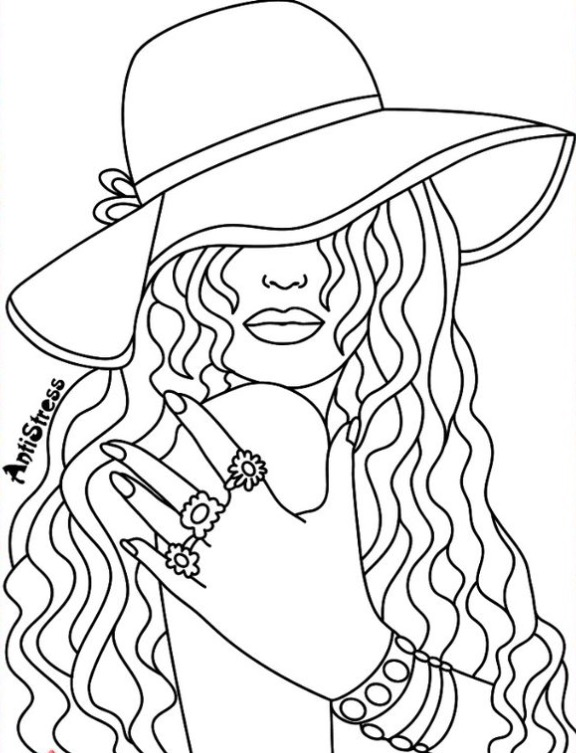 576x753 Lovely Ideas Recolor Coloring Pages Pretty Lady Page App Beautiful