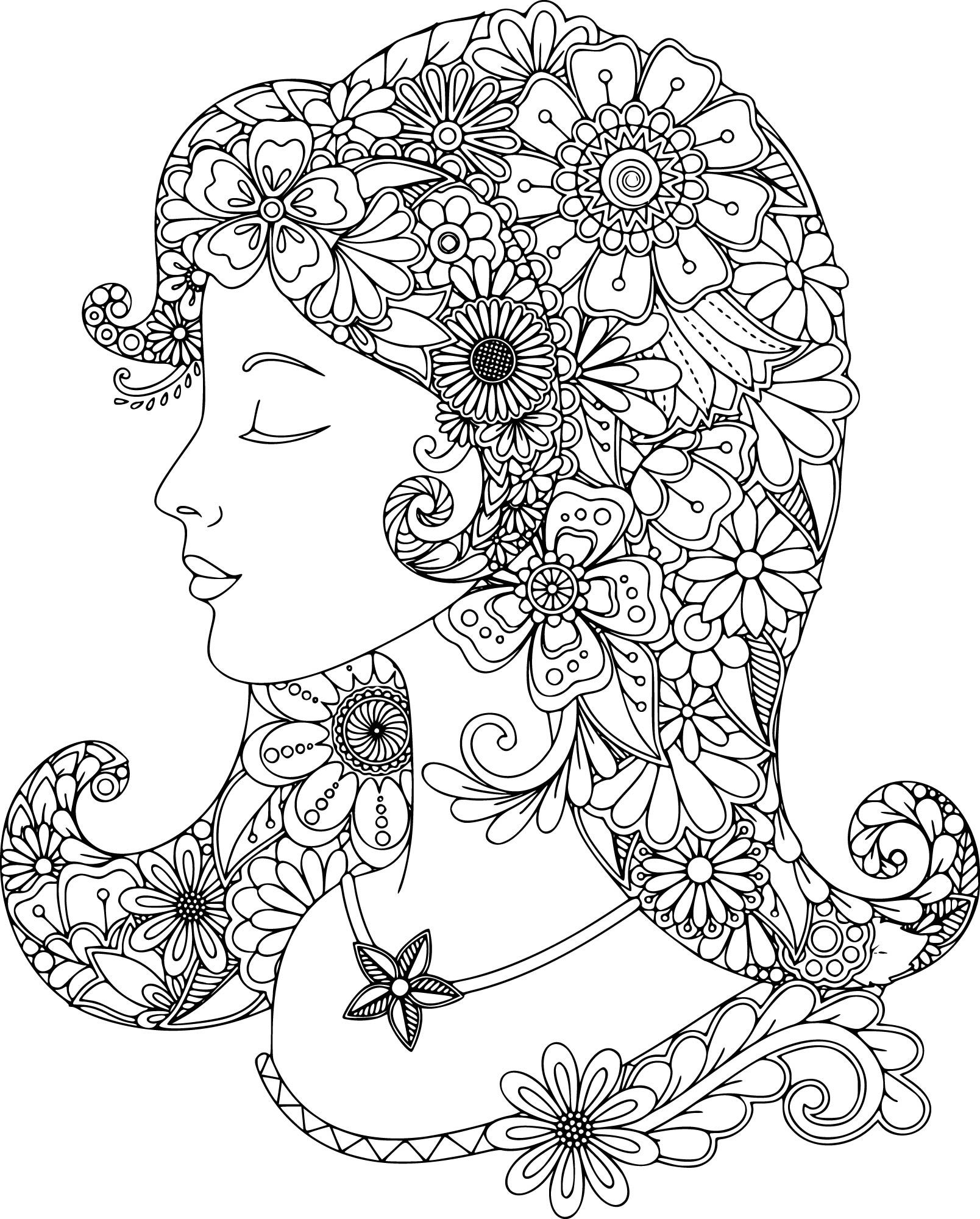 1608x2000 Lovely Lady Coloring Page For You To Color With Adult Coloring
