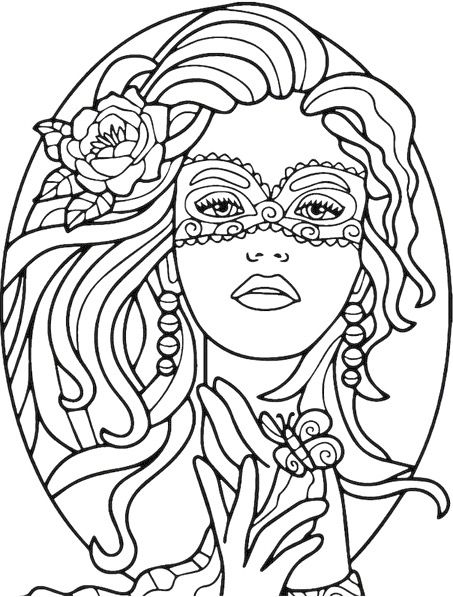 453x597 Masked Beauty Coloring Page Recolor App Design Patterns