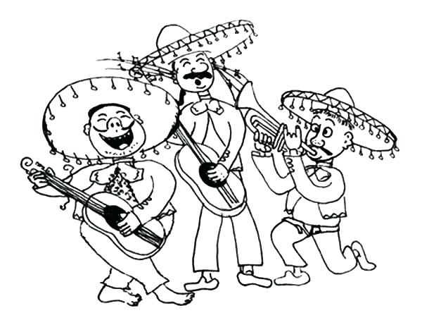 600x471 Marching Band Coloring Pages Mariachi Band In Mayo Coloring Pages