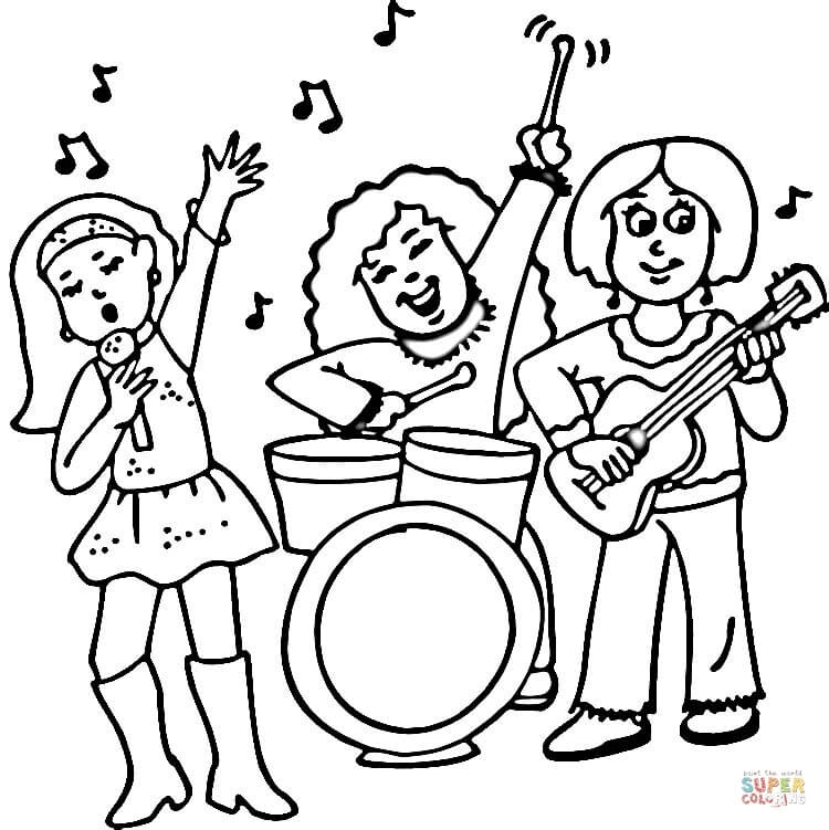 750x751 Rock Band Coloring Pages Concert Of A Female Rock Band Coloring