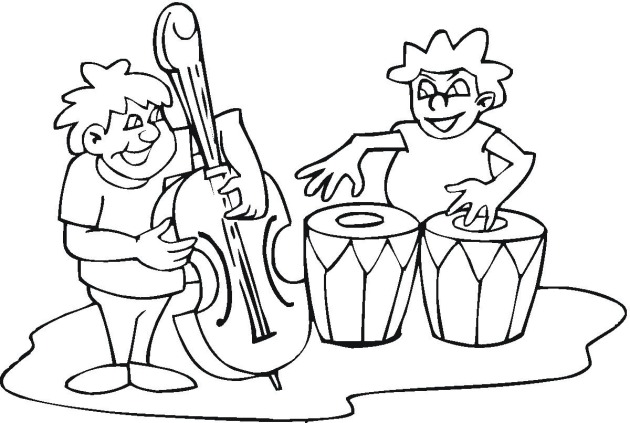 630x423 Coloring Pages Of Kids Playing With Band Instruments