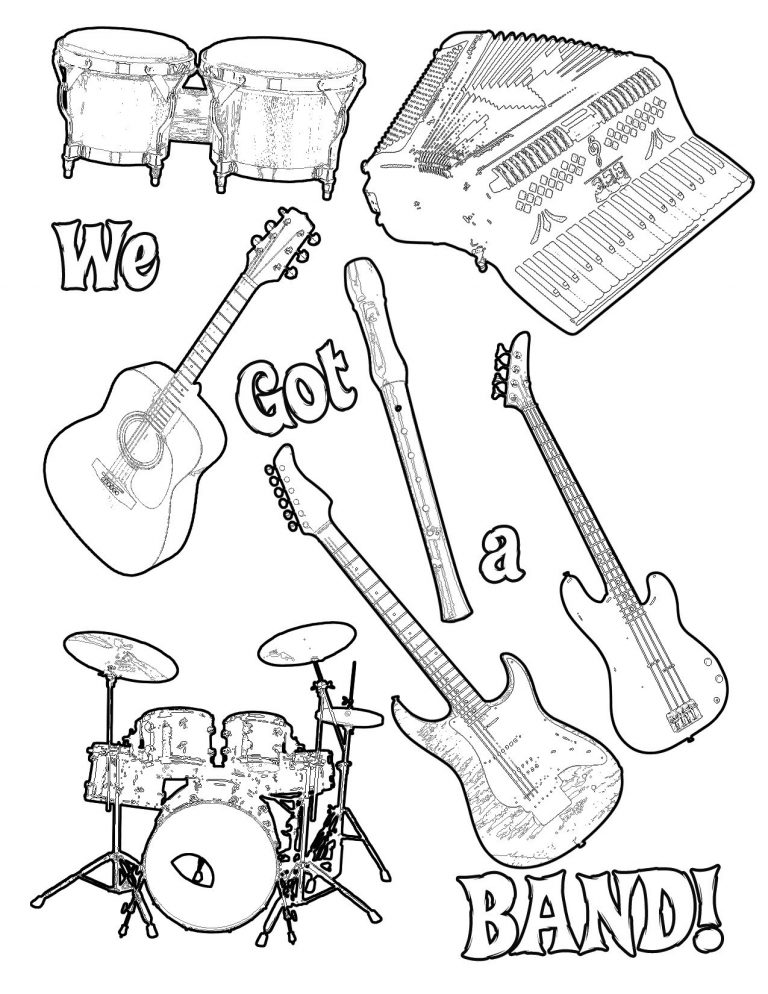768x994 Free Printable Coloring Pages Musical Instruments Copy Band New