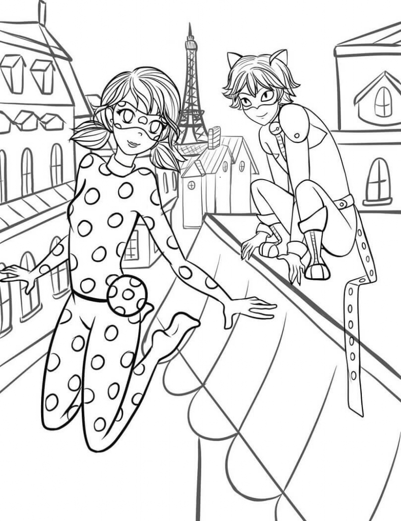 789x1024 Free Printable Miraculous Ladybug And Cat Noir Coloring Pages