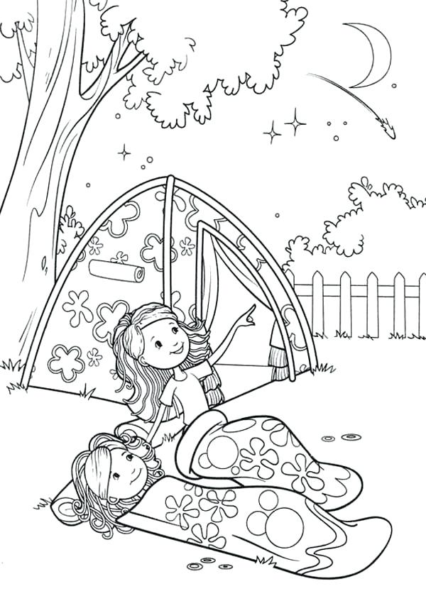 600x840 Camping Coloring Pages Groovy Girls Camping At Backyard Coloring