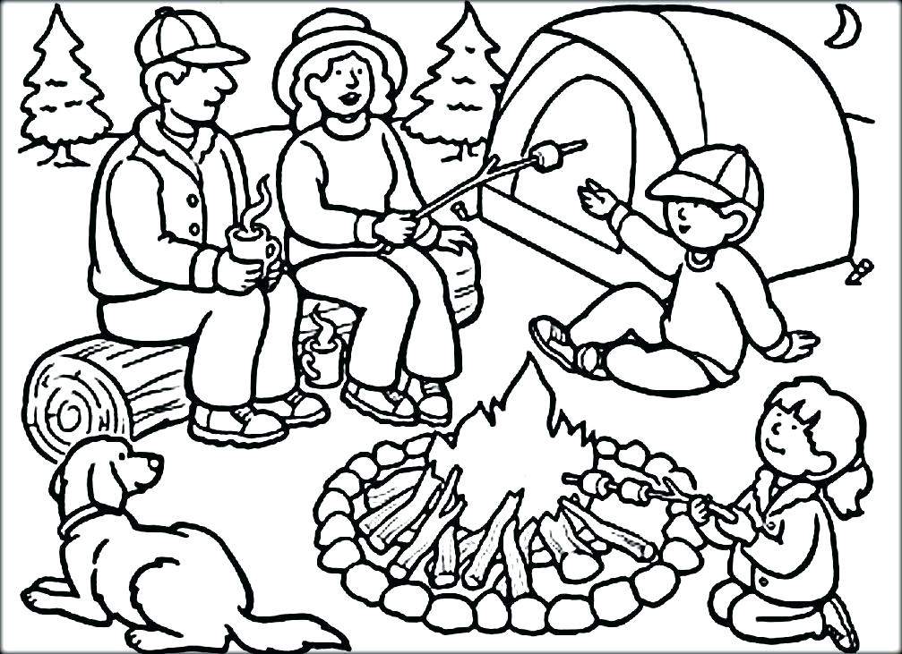 1007x731 Camping Coloring Pages To Print Pictures Of Coloring Sheets