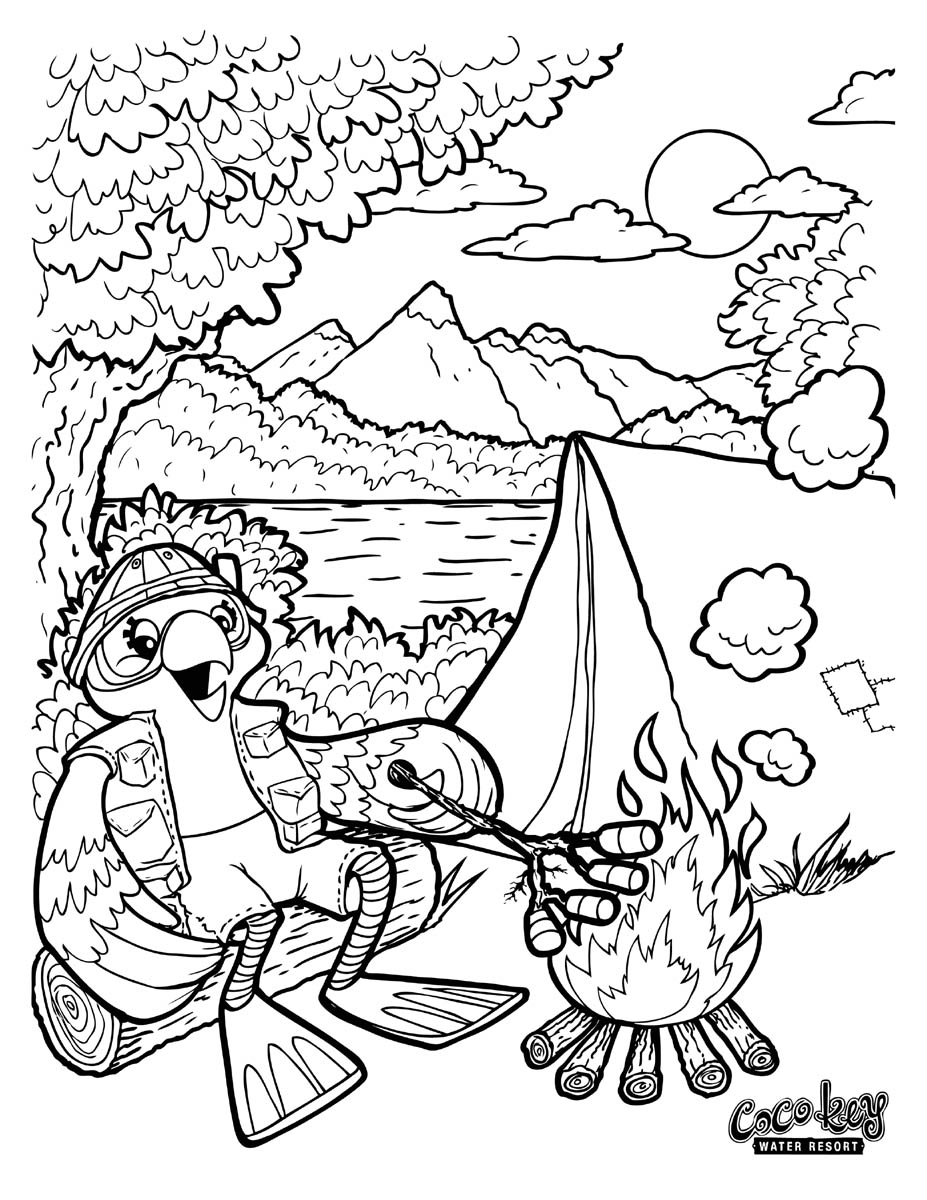 927x1200 Camping Themed Coloring Pages Summer Camp For Kids Holidays New