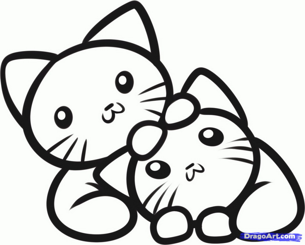 1048x842 Coloring Pages Kittens Of To Print Cute Kitten Colouring Printable