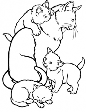 291x378 Coloring Pages Of Mommy Cat Kittens For Kids