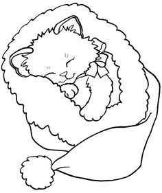 236x281 Kitten Christmas Coloring Page