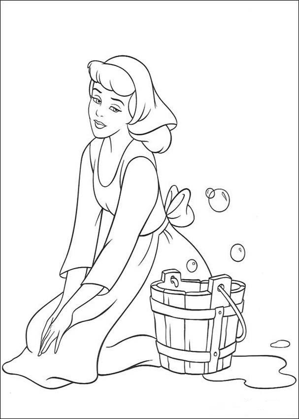 607x850 Cinderella Cleaning The Floor Coloring Page Cinderella Pages