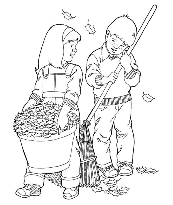 600x708 Couple Of Kids Cleaning Dry Leaves In Autumn Coloring Pages