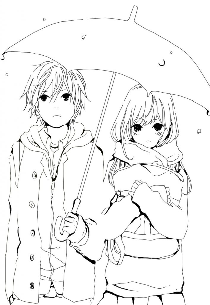 707x1024 Projects Design Anime Couples Coloring Pages Wolf Kissing Cute