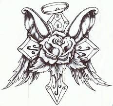 232x217 Coloring Pages Of Crosses With Roses Tattoo Page Cross Wings Halo