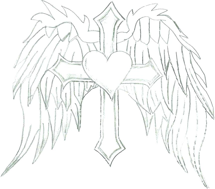 863x761 Angel Wings Coloring Pages Coloring Page Cross Cross Coloring