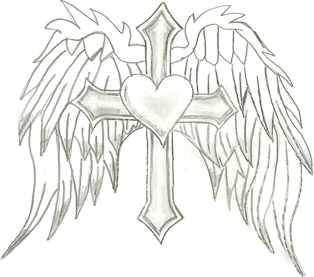 1021x901 Heart With Wings And Cross Drawings