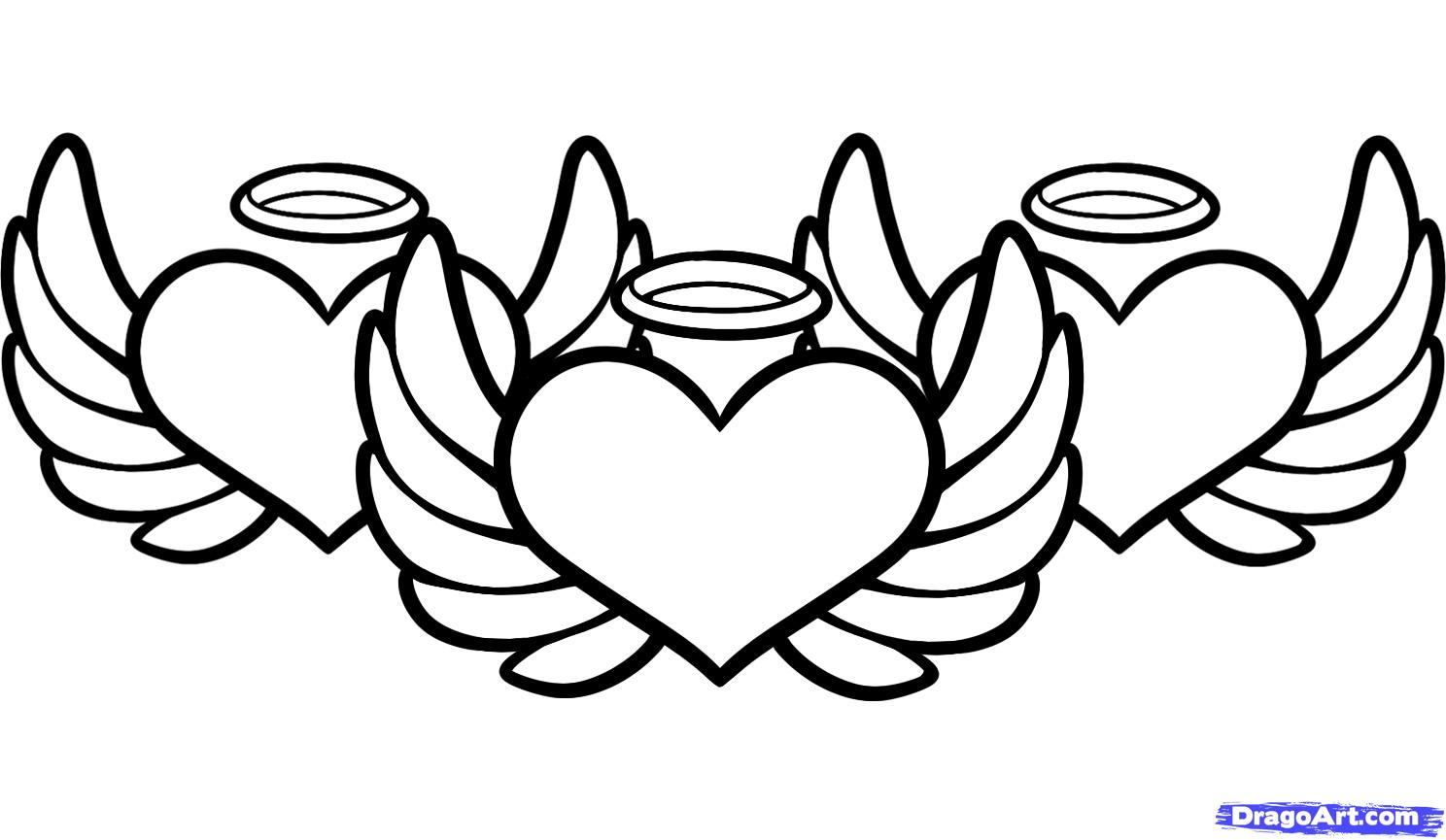 1488x865 Hearts With Wings Coloring Page Free Download