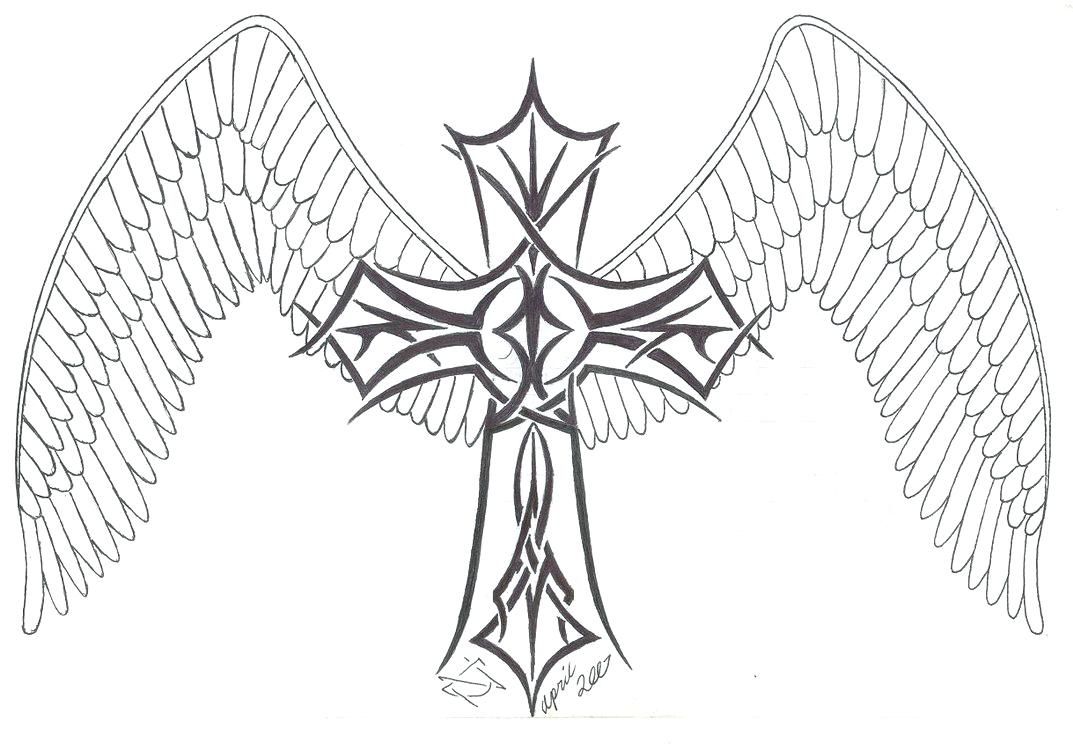 1073x744 Wings Coloring Pages Printable Hearts Celtic Cross For Adults