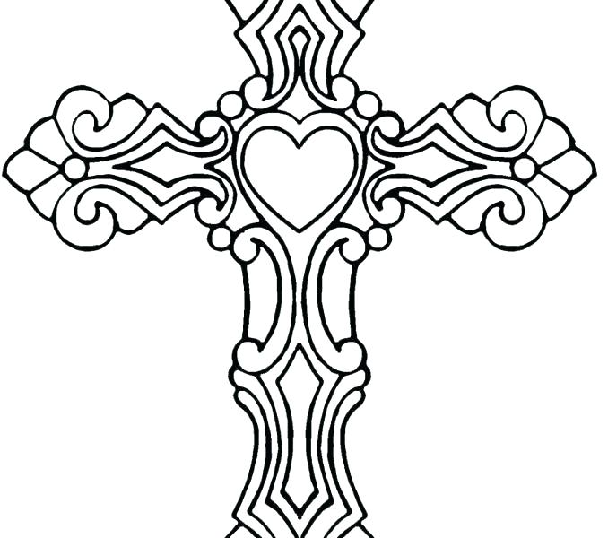678x600 Coloring Pages Of Crosses And Roses Cross With Wings Coloring